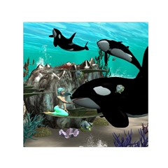 Cute Mermaid Playing With Orca Small Satin Scarf (Square)