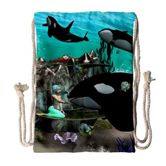 Cute Mermaid Playing With Orca Drawstring Bag (Large)