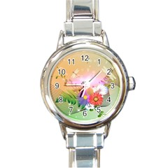 Wonderful Colorful Flowers With Dragonflies Round Italian Charm Watches