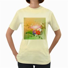 Wonderful Colorful Flowers With Dragonflies Women s Yellow T-Shirt