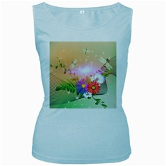 Wonderful Colorful Flowers With Dragonflies Women s Baby Blue Tank Tops