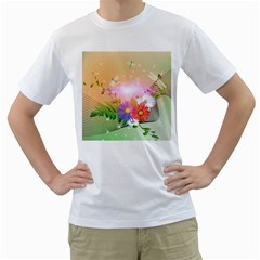 Wonderful Colorful Flowers With Dragonflies Men s T Shirt (white) (two Sided)