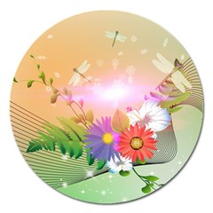 Wonderful Colorful Flowers With Dragonflies Magnet 5  (Round)