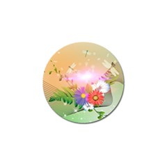 Wonderful Colorful Flowers With Dragonflies Golf Ball Marker