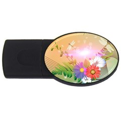 Wonderful Colorful Flowers With Dragonflies USB Flash Drive Oval (2 GB)
