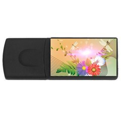 Wonderful Colorful Flowers With Dragonflies USB Flash Drive Rectangular (2 GB)