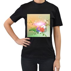 Wonderful Colorful Flowers With Dragonflies Women s T Shirt (black) (two Sided)