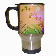 Wonderful Colorful Flowers With Dragonflies Travel Mugs (white)