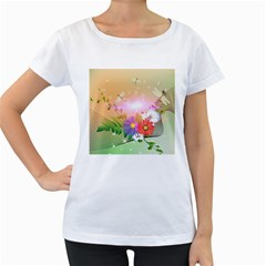 Wonderful Colorful Flowers With Dragonflies Women s Loose Fit T Shirt (white)