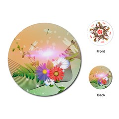 Wonderful Colorful Flowers With Dragonflies Playing Cards (Round)