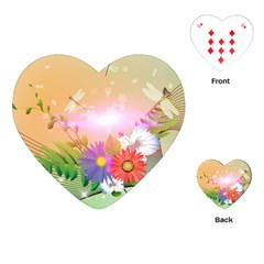 Wonderful Colorful Flowers With Dragonflies Playing Cards (Heart)