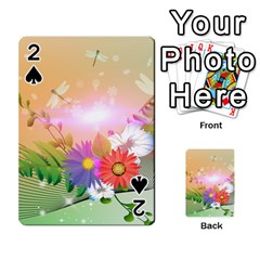 Wonderful Colorful Flowers With Dragonflies Playing Cards 54 Designs