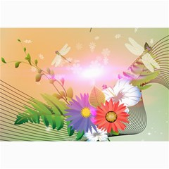 Wonderful Colorful Flowers With Dragonflies Collage 12  X 18