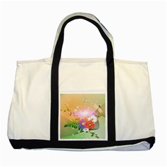 Wonderful Colorful Flowers With Dragonflies Two Tone Tote Bag