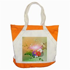 Wonderful Colorful Flowers With Dragonflies Accent Tote Bag