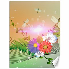 Wonderful Colorful Flowers With Dragonflies Canvas 36  x 48