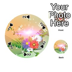 Wonderful Colorful Flowers With Dragonflies Playing Cards 54 (Round)