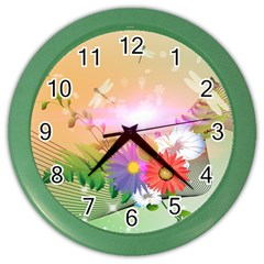 Wonderful Colorful Flowers With Dragonflies Color Wall Clocks