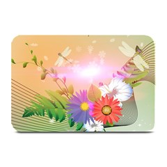 Wonderful Colorful Flowers With Dragonflies Plate Mats