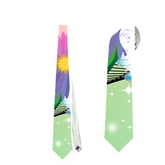 Wonderful Colorful Flowers With Dragonflies Neckties (One Side)
