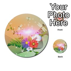 Wonderful Colorful Flowers With Dragonflies Multi-purpose Cards (Round)