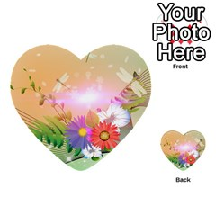Wonderful Colorful Flowers With Dragonflies Multi-purpose Cards (Heart)