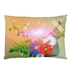 Wonderful Colorful Flowers With Dragonflies Pillow Cases