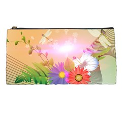 Wonderful Colorful Flowers With Dragonflies Pencil Cases