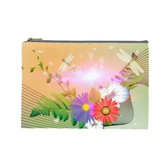 Wonderful Colorful Flowers With Dragonflies Cosmetic Bag (Large)