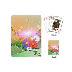 Wonderful Colorful Flowers With Dragonflies Playing Cards (Mini)