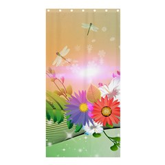 Wonderful Colorful Flowers With Dragonflies Shower Curtain 36  x 72  (Stall)
