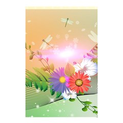 Wonderful Colorful Flowers With Dragonflies Shower Curtain 48  x 72  (Small)