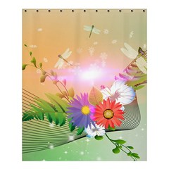 Wonderful Colorful Flowers With Dragonflies Shower Curtain 60  x 72  (Medium)