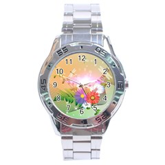 Wonderful Colorful Flowers With Dragonflies Stainless Steel Men s Watch