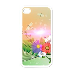 Wonderful Colorful Flowers With Dragonflies Apple iPhone 4 Case (White)