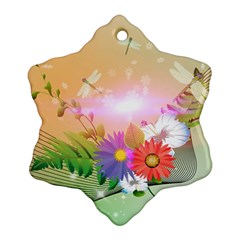 Wonderful Colorful Flowers With Dragonflies Ornament (snowflake)