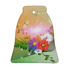 Wonderful Colorful Flowers With Dragonflies Ornament (Bell)