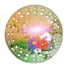 Wonderful Colorful Flowers With Dragonflies Round Filigree Ornament (2Side)