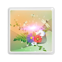 Wonderful Colorful Flowers With Dragonflies Memory Card Reader (Square)