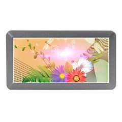 Wonderful Colorful Flowers With Dragonflies Memory Card Reader (Mini)