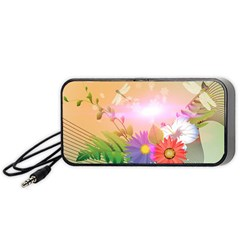 Wonderful Colorful Flowers With Dragonflies Portable Speaker (black)