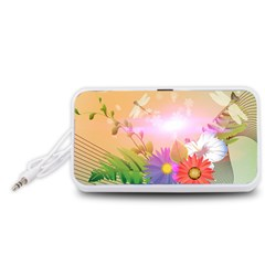 Wonderful Colorful Flowers With Dragonflies Portable Speaker (White)