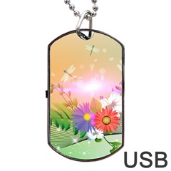 Wonderful Colorful Flowers With Dragonflies Dog Tag USB Flash (One Side)