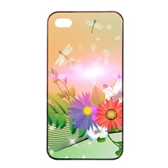 Wonderful Colorful Flowers With Dragonflies Apple iPhone 4/4s Seamless Case (Black)