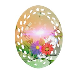 Wonderful Colorful Flowers With Dragonflies Oval Filigree Ornament (2-Side)