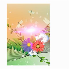 Wonderful Colorful Flowers With Dragonflies Small Garden Flag (Two Sides)