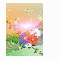 Wonderful Colorful Flowers With Dragonflies Large Garden Flag (Two Sides)