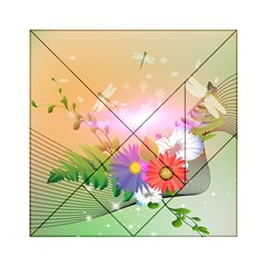 Wonderful Colorful Flowers With Dragonflies Acrylic Tangram Puzzle (6  x 6 )