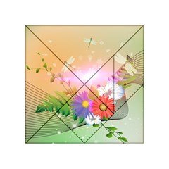 Wonderful Colorful Flowers With Dragonflies Acrylic Tangram Puzzle (4  x 4 )