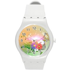 Wonderful Colorful Flowers With Dragonflies Round Plastic Sport Watch (M)